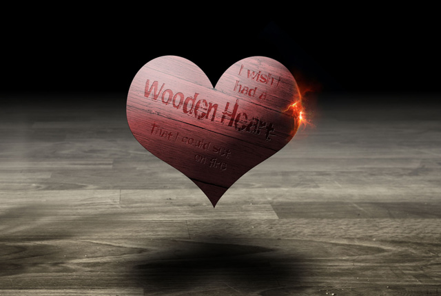 Wooden Heart Desktop Wallpaper Design