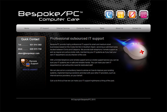 BespokePC website design