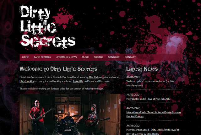 Dirty Little Secrets website design